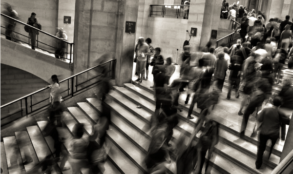 crowded staircase